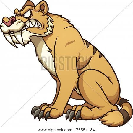 Cartoon saber-tooth. Vector clip art illustration with simple gradients. All in a single layer.