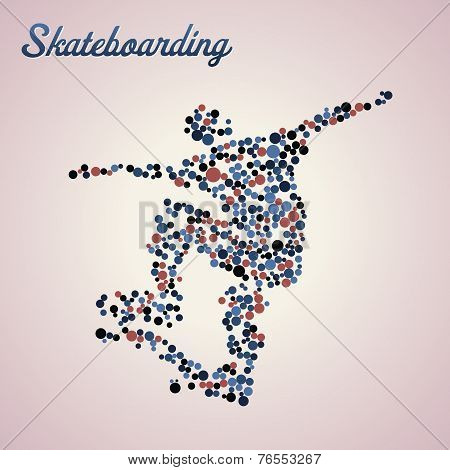 Abstract Skateboarder In Jump
