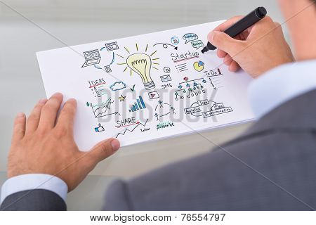 Businessman Preparing Startup Plan On Paper