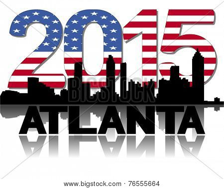Atlanta skyline 2015 flag text vector illustration