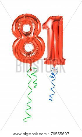 Red balloons with ribbon - Number 81
