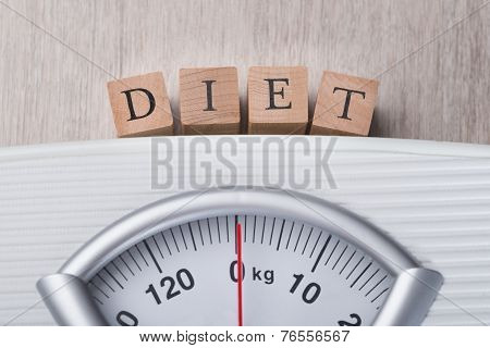 Weight Scale Indicating Diet Blocks