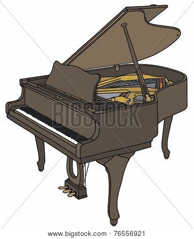 Old opened grand piano