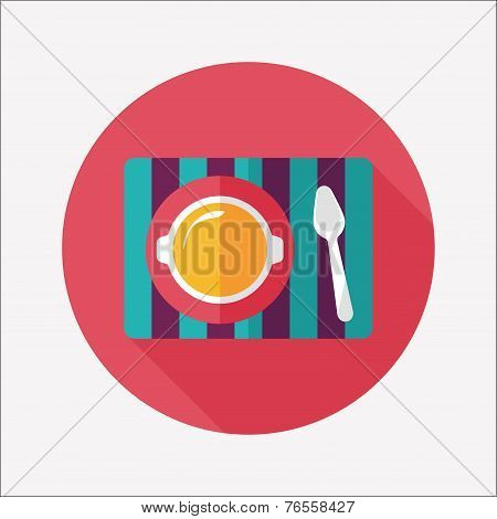 Tableware Flat Icon With Long Shadow