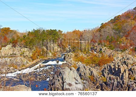 Great Falls National Park in autumn Virginia USA.