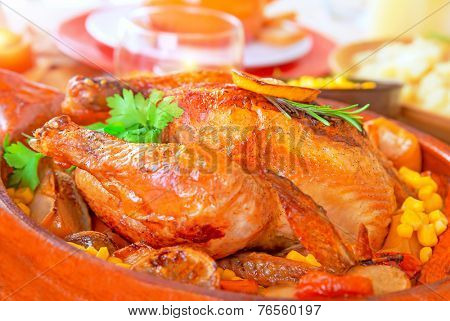 Delicious Thanksgiving turkey on festive table, traditional prepared poultry for American autumn holiday, family dinner at home