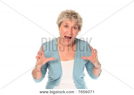 Senior Older Woman Shouting