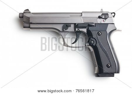 the handgun on white background