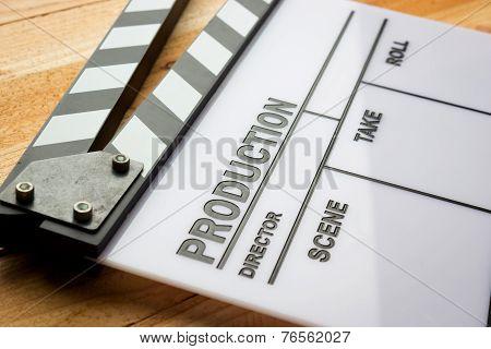 Movie slate film on wooden table
