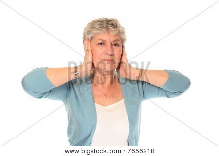 Senior Older Woman Covering Ears