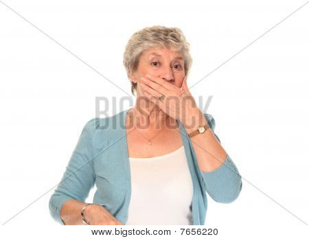 Senior Older Woman Covering Mouth