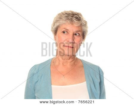 Senior Older Woman Looking Left
