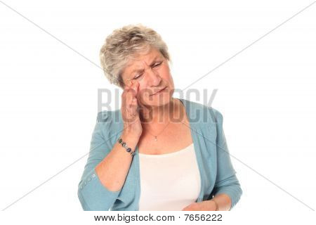 Senior Older Woman With Headache