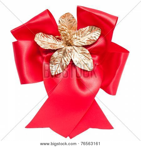 red satin gift bow.