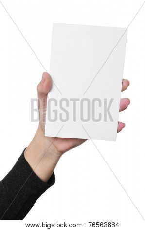 a young woman hand showing a blank signboard with a copy-space