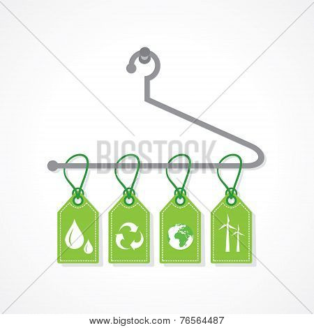 Eco icon labels hanging on a hanger stock vector