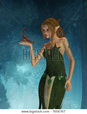 Elf Woman and Pet Dragon with Woodland Background