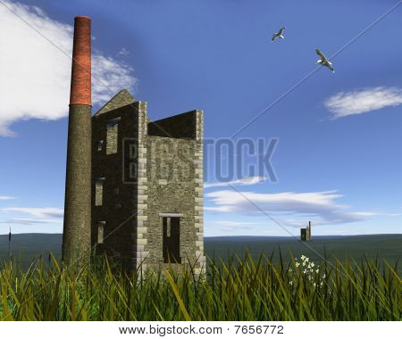 Derelict Mine Engine Houses in a Cornish Landscape
