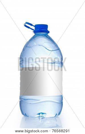 Large Soda water bottle with blank label. Isolated on white