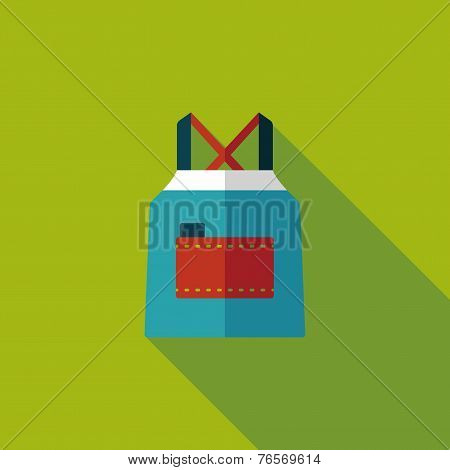 Kitchenware Apron Flat Icon With Long Shadow,eps10