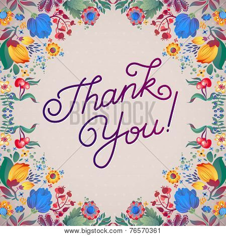 Thank You Abstract Floral Background  Callygraphy. Thank You Hand Lettering -- Handmade Calligraphy