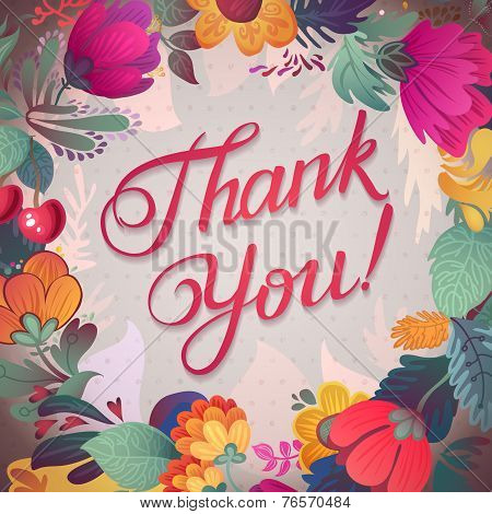 Thank You Card In Bright Colors. Stylish Floral Background With Text, Berries, Leaves And Flower