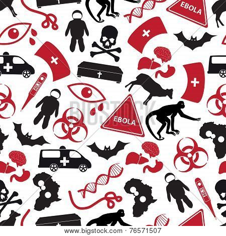 Ebola Disease Red And Black Icons Pattern Eps10