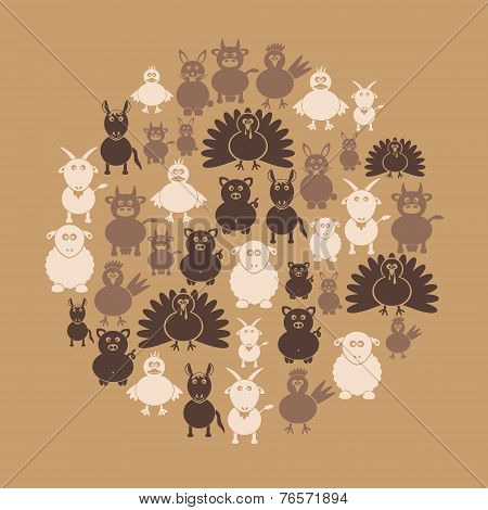 Farm Animals Simple Icons In Circle Eps10