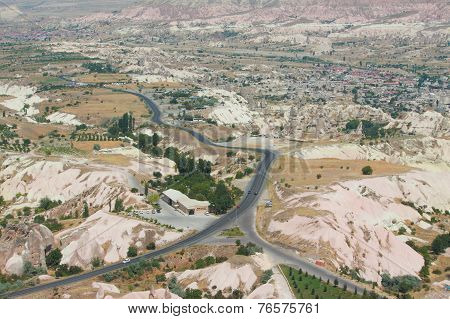 aerial view of surroundings from Uchisar castle in Cappadocia