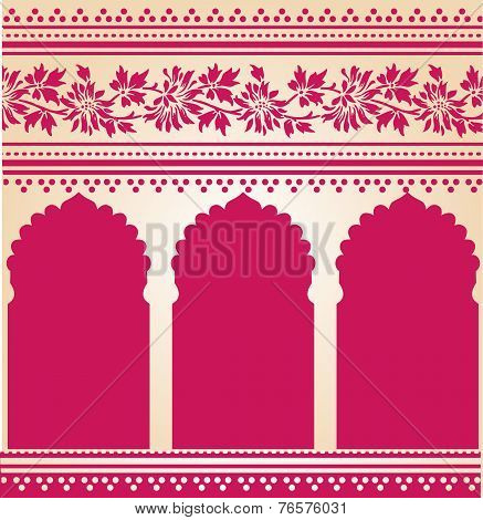 Pink floral oriental temple background