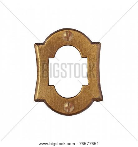 vintage brass number plate over white, clipping path, space for your text