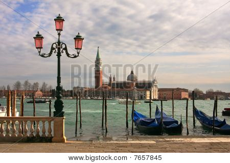 View On Grand Canal And San Giorgio Maggiore Church In Venice, Italy.