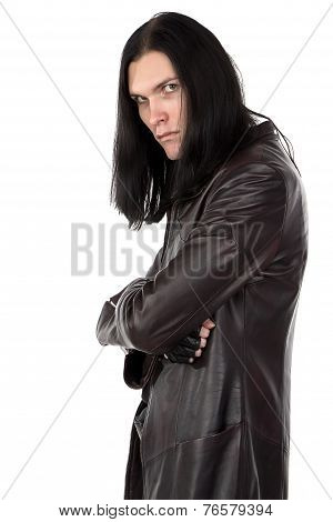 Photo of informal man in leather coat