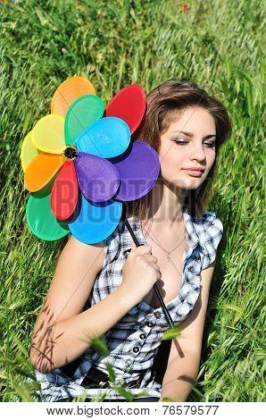 Bright Girl In Grass
