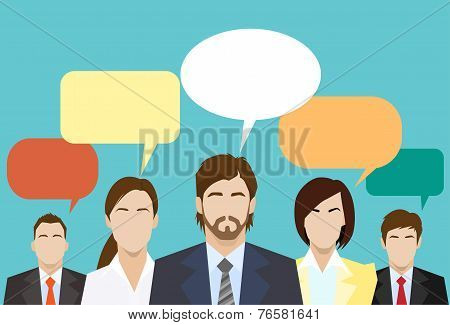 business people group chat global communication social