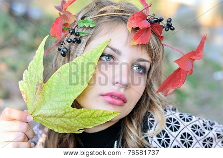 girl wearing autumn crown