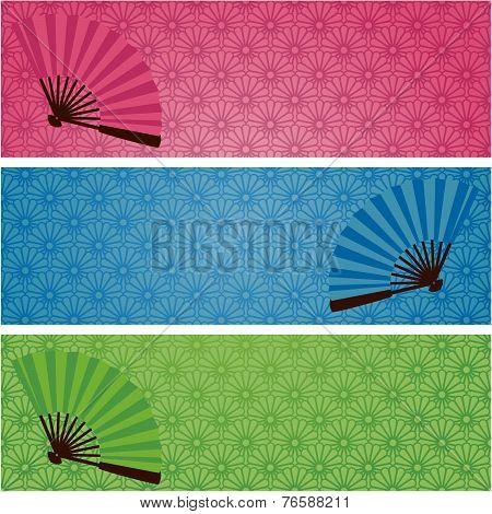 Japanese kimono pattern and fan banners