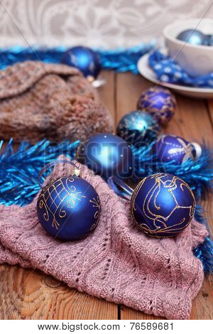 Christmas Decorations With Balls, Woolen Scarf And Cap