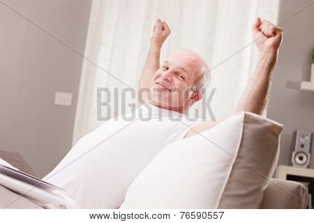 Man Stretching And Going Asleep