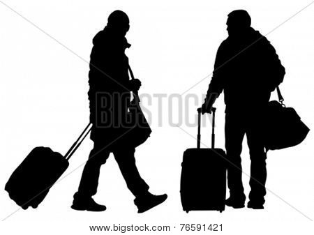 Man whit travel big suitcases on white background