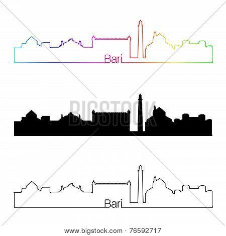 Bari Skyline Linear Style With Rainbow