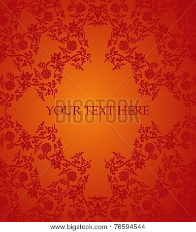 Red Chinese lotus frame card
