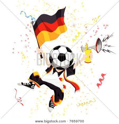 German Soccer Fan with Ball Head.