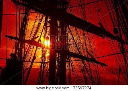 Background -   old sailing ship rigging