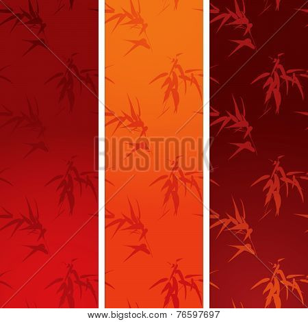 Asian bamboo vertical banners