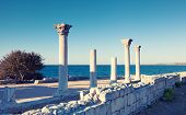 picture of sevastopol  - Colonnade in ruins of the Ancient Greek city of Chersonese early in the morning Sevastopol Crimea - JPG