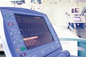 stock photo of icu  - Heart monitor in a hospital room - JPG