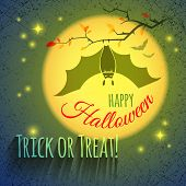 pic of vampire bat  - Grungy Halloween card with bat vampire hanging on a branch on a background of a large yellow glowing moon and stars - JPG