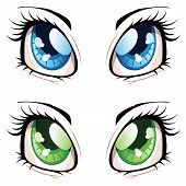 image of manga  - Set of manga anime style eyes of different colors - JPG