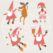 Постер, плакат: Funny Santa Claus and Deer in vector set Dancing Santa and his friend Deer Santa drinking hot tea
